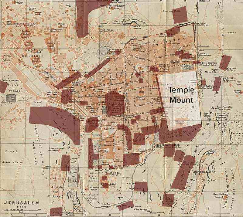 Map of the Old City of Jerusalem with the major excavated areas in the last 150 years. Note the large blank rectangle of the Temple Mount where no systematic excavation has ever taken place.
