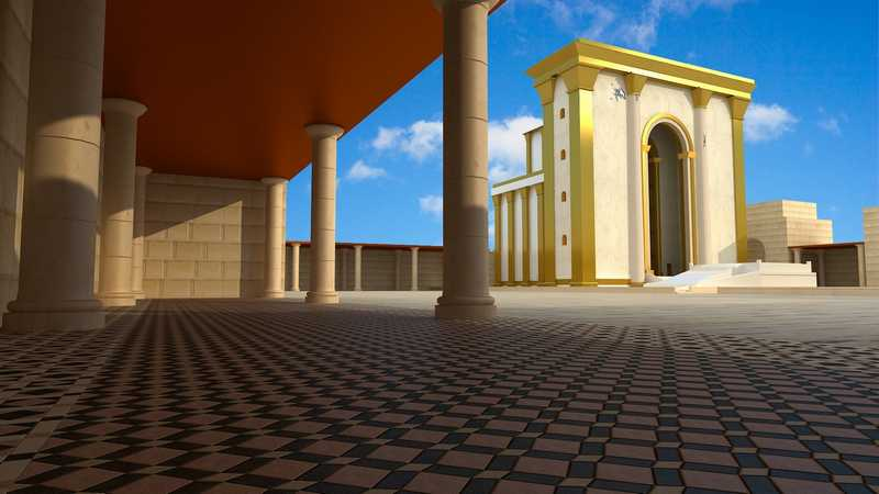 A suggested reconstruction of the Temple courts according to Flavius Josephus' writings and the floor tiles found at the Sifting Project.