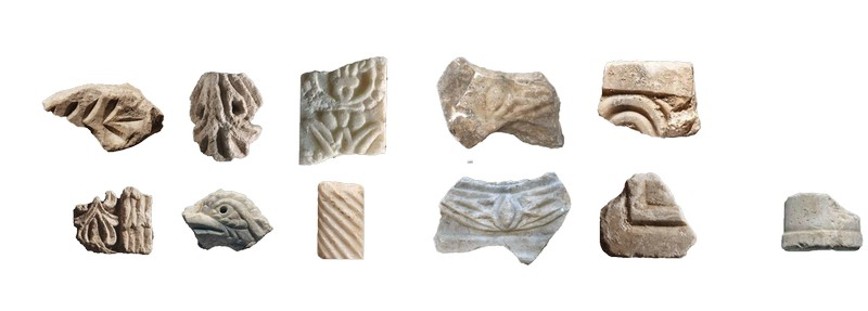 Byzantine period marble and limestone architectural fragments.